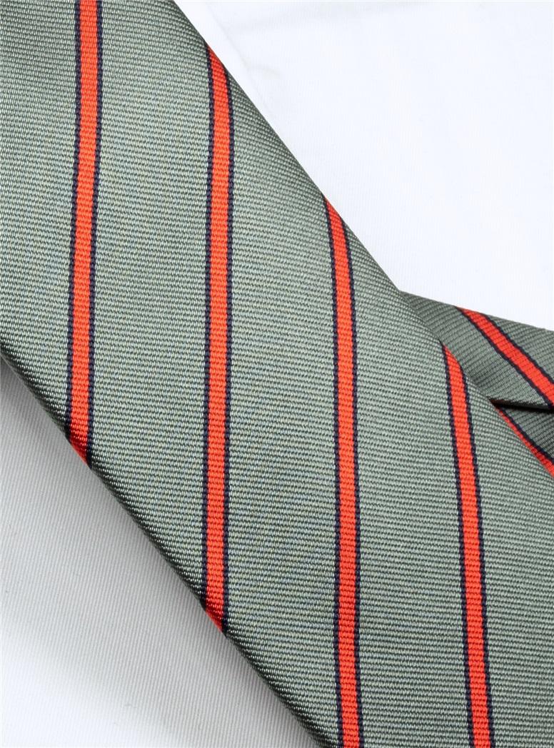 Silk Woven Striped Tie in Slate