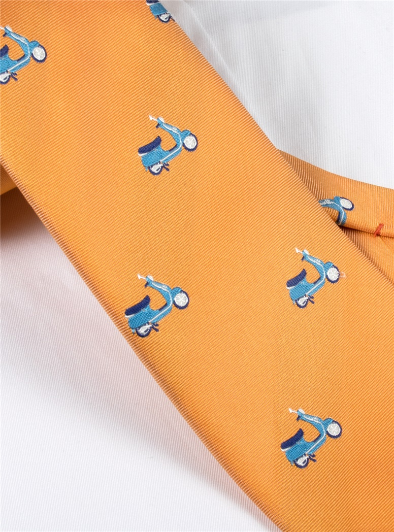 Jacquard Woven Scooter Tie in Apricot
