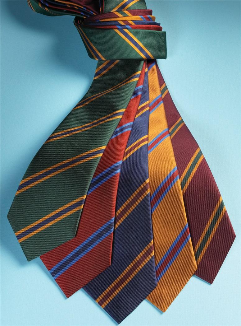 Silk Stripe Tie in Ruby