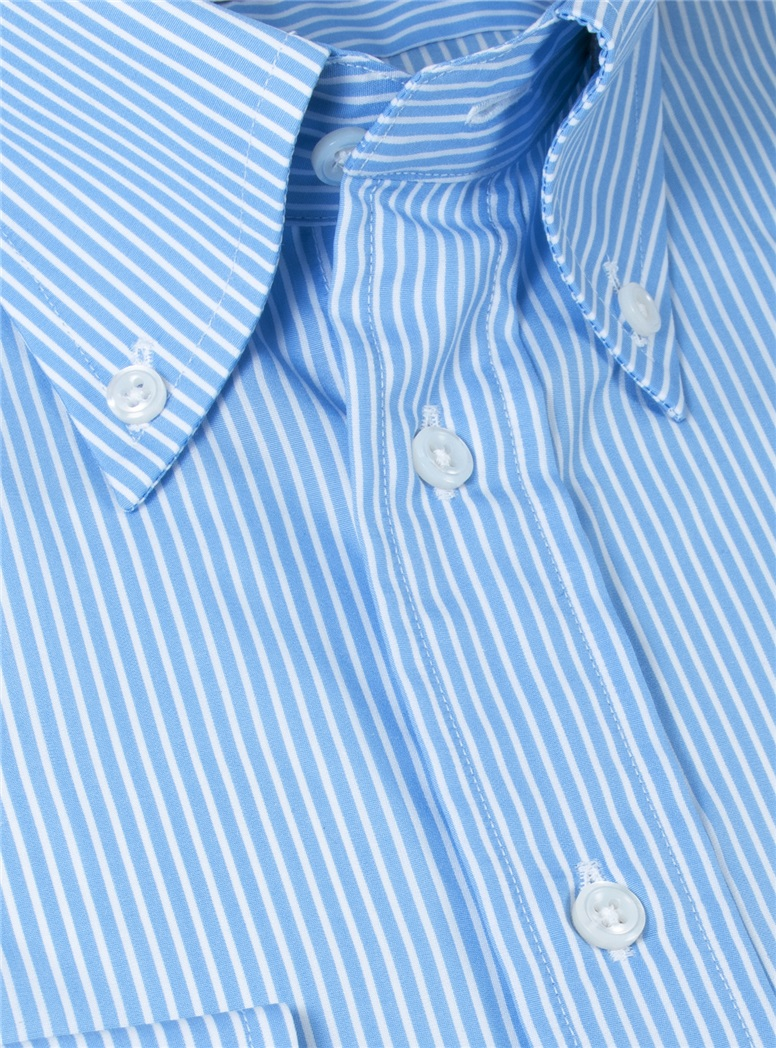 Blue with White Stripe Button Down Travel Shirt