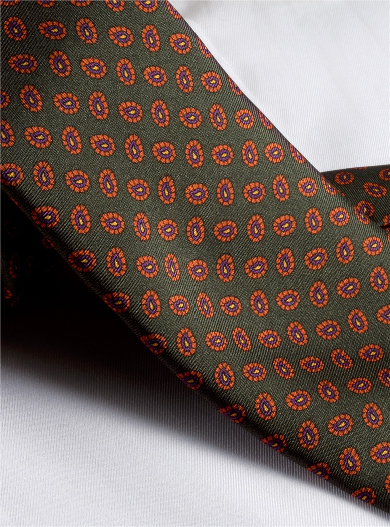 Printed Neat Tie in Green