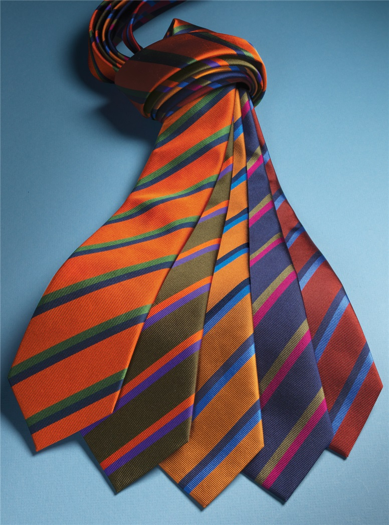 Silk Multi-Color Double Stripe Tie in Navy