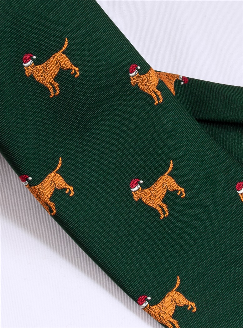 Christmas Lab Tie in Tartan