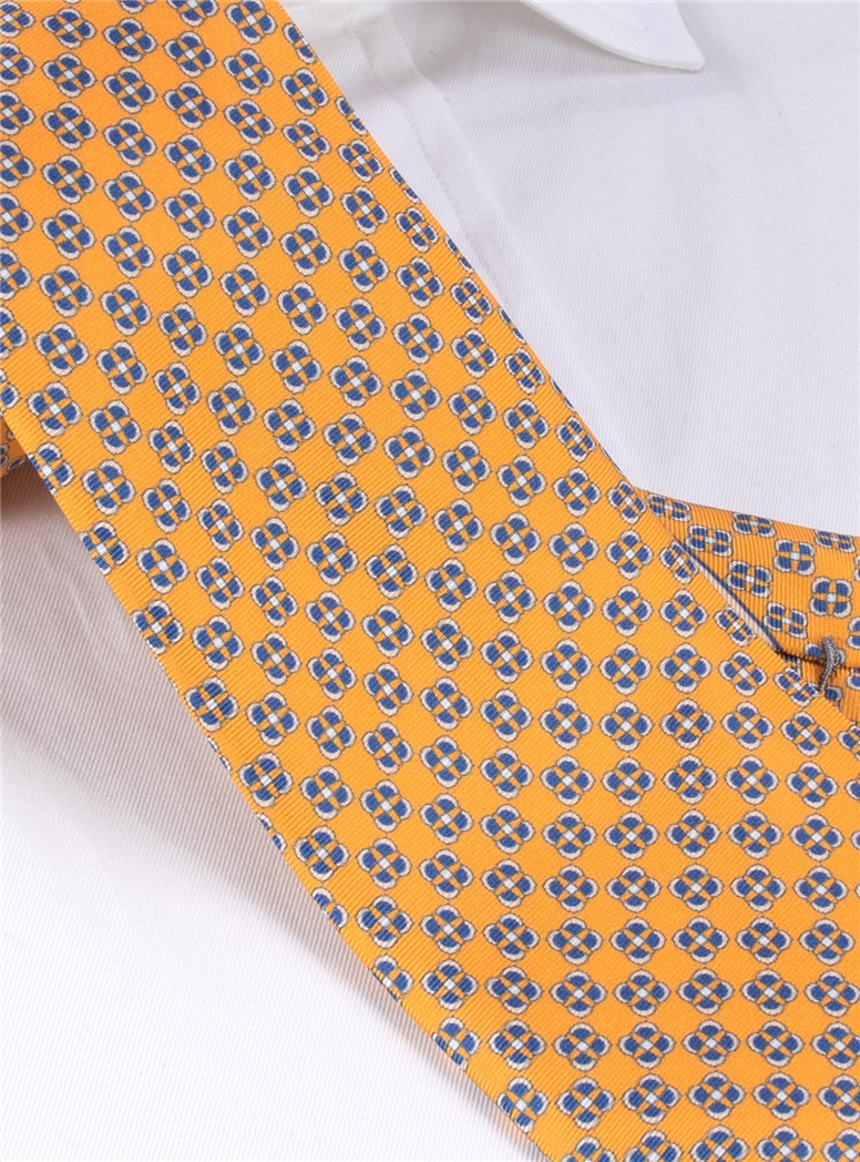 Silk Printed Square Tie in Yellow