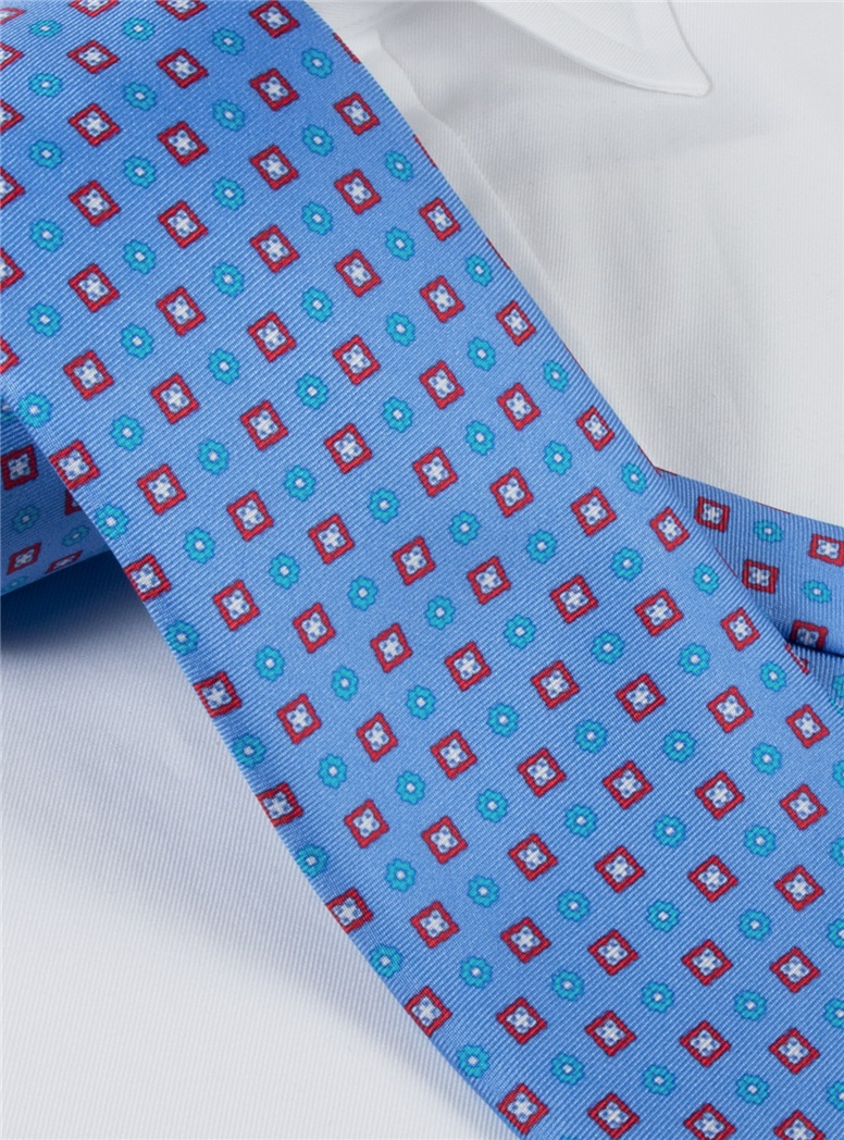 Silk Neat Print Tie in Cornflower