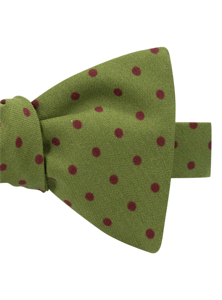 Wool Printed Dots Bow Tie in Lime with Wine