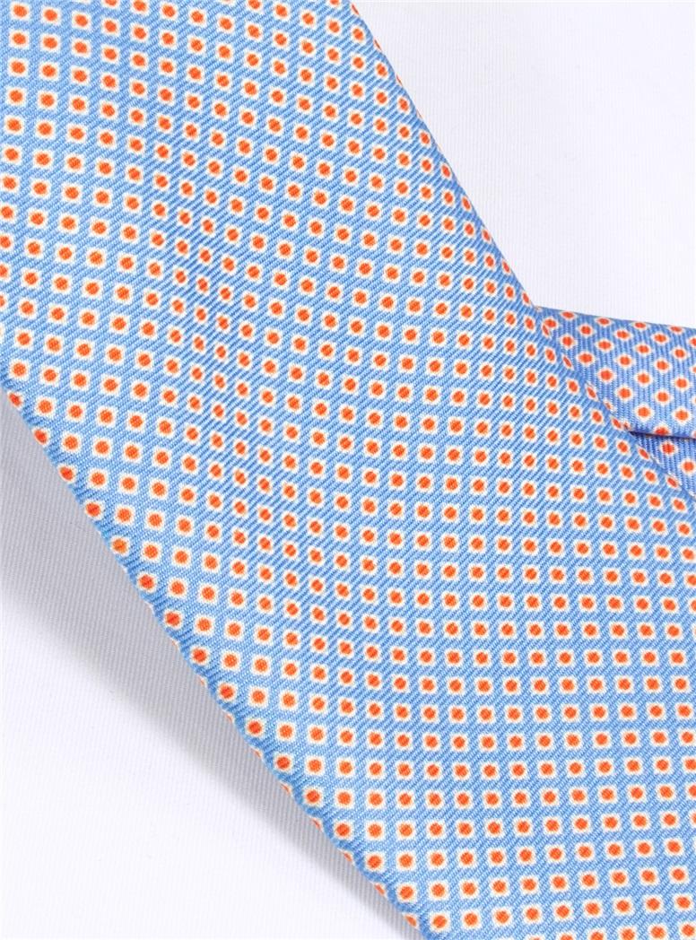 Silk Printed Dots Tie in Sky