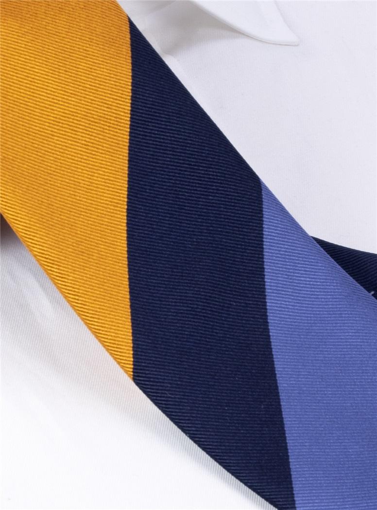 Silk Block Striped Tie in Cornflower, Marigold and Navy