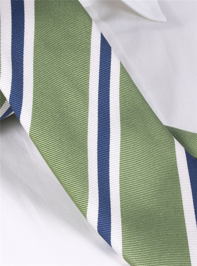 Silk Striped Tie in Fern