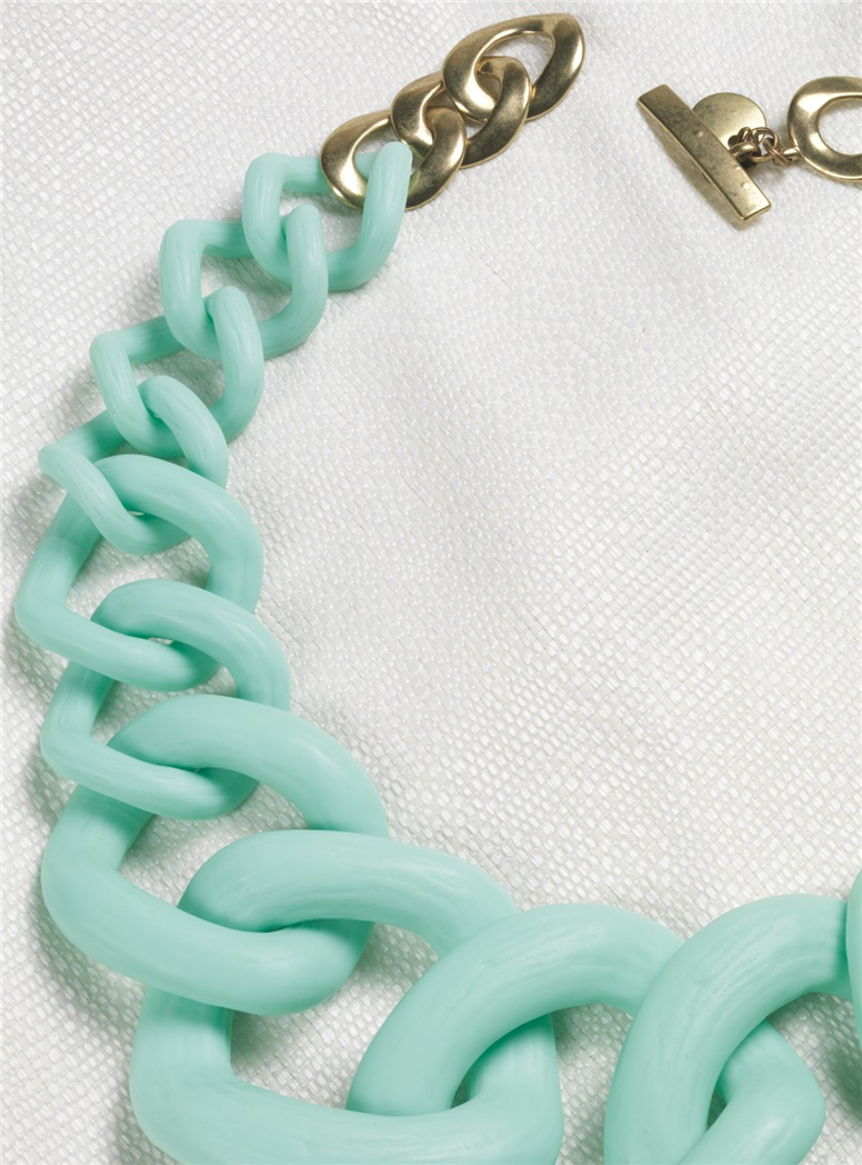 Graduated Link Necklace in Mint