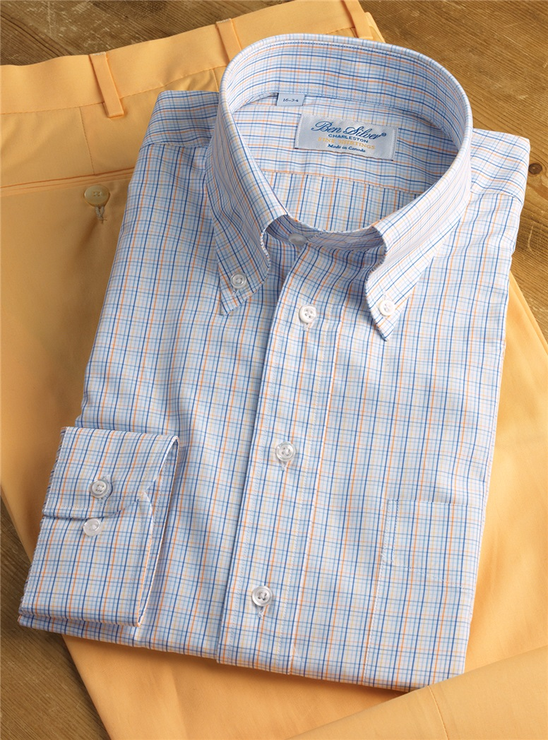 Blue, Yellow, and Orange Small Tattersall Button Down