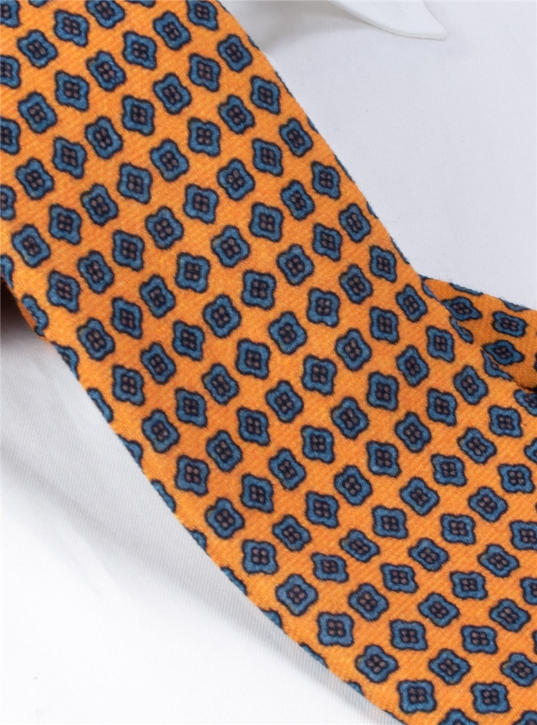 Wool Neat Printed Tie in Yellow