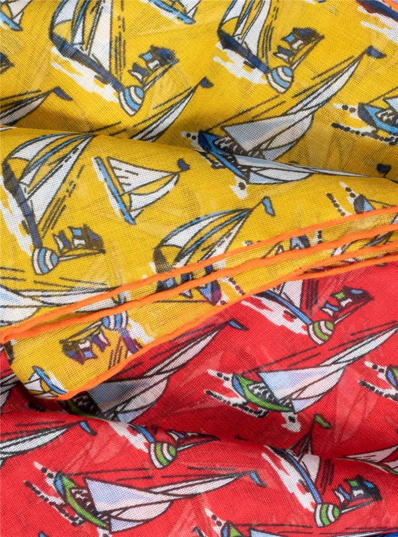 Cotton and Cashmere Sailboat Printed Pocket Squares