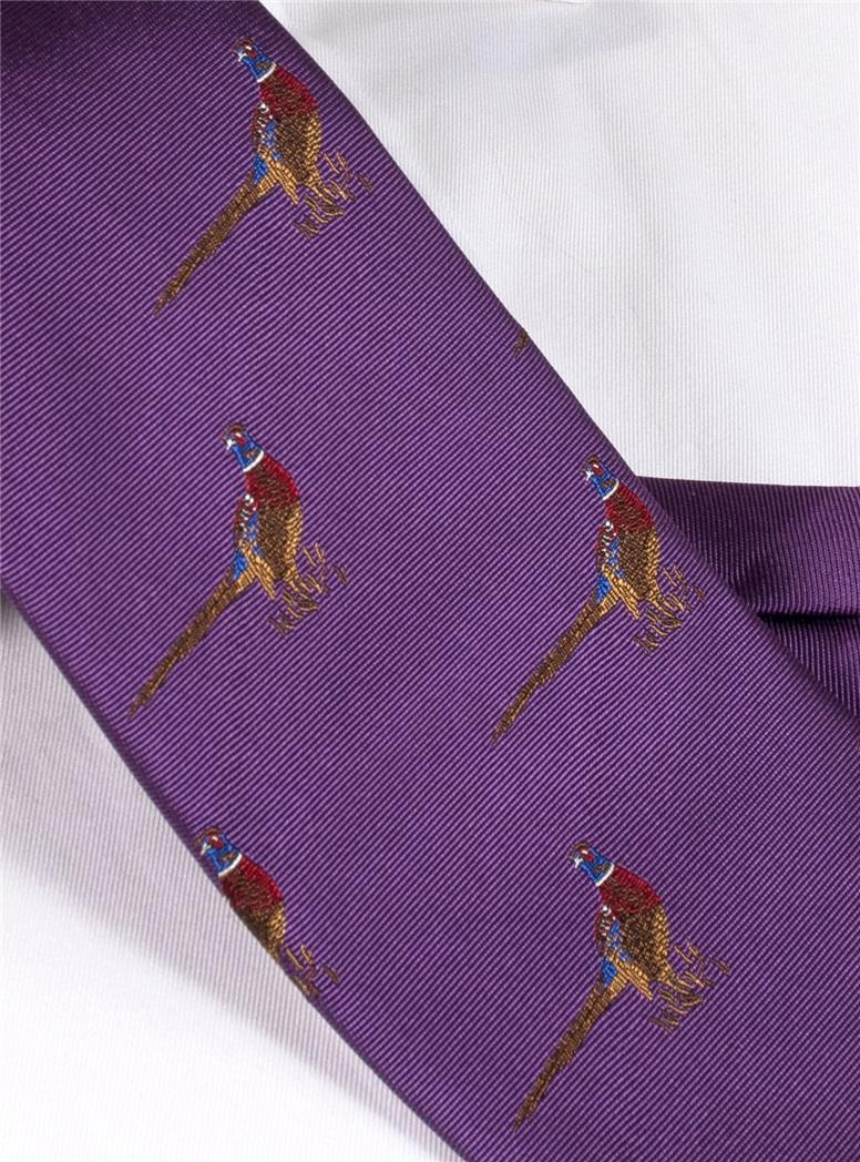 Jacquard Woven Pheasant Motif Tie in Violet