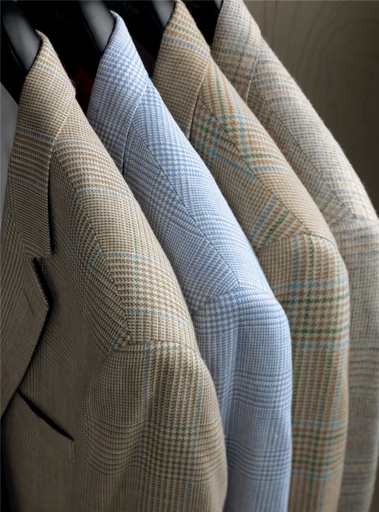 Cotton, Silk, Wool Tan and Cream Sport Coat