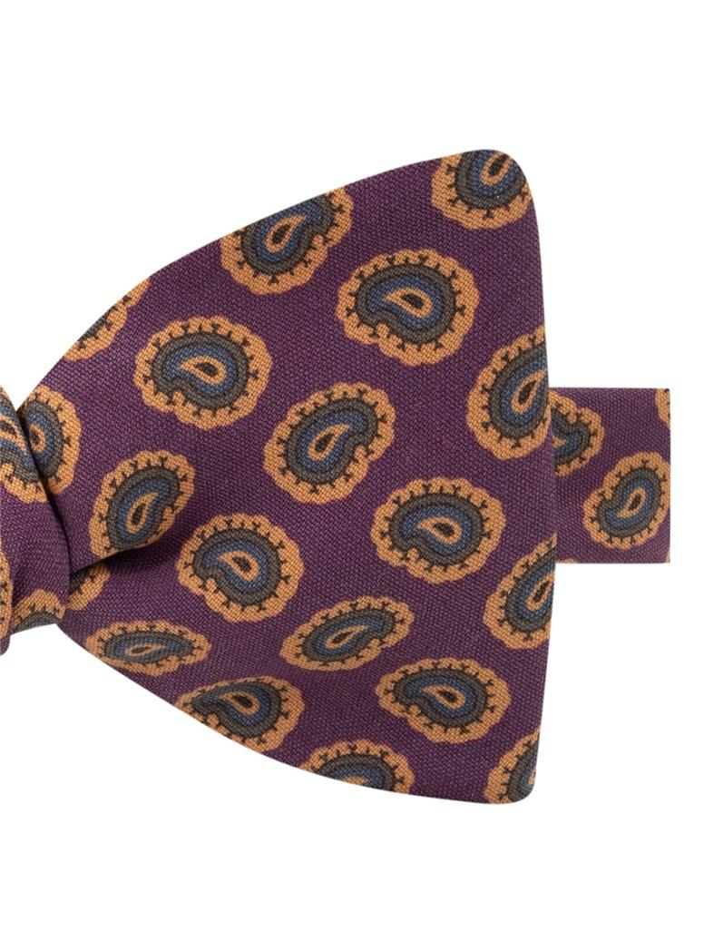 Silk Paisley Printed Bow Tie in Plum