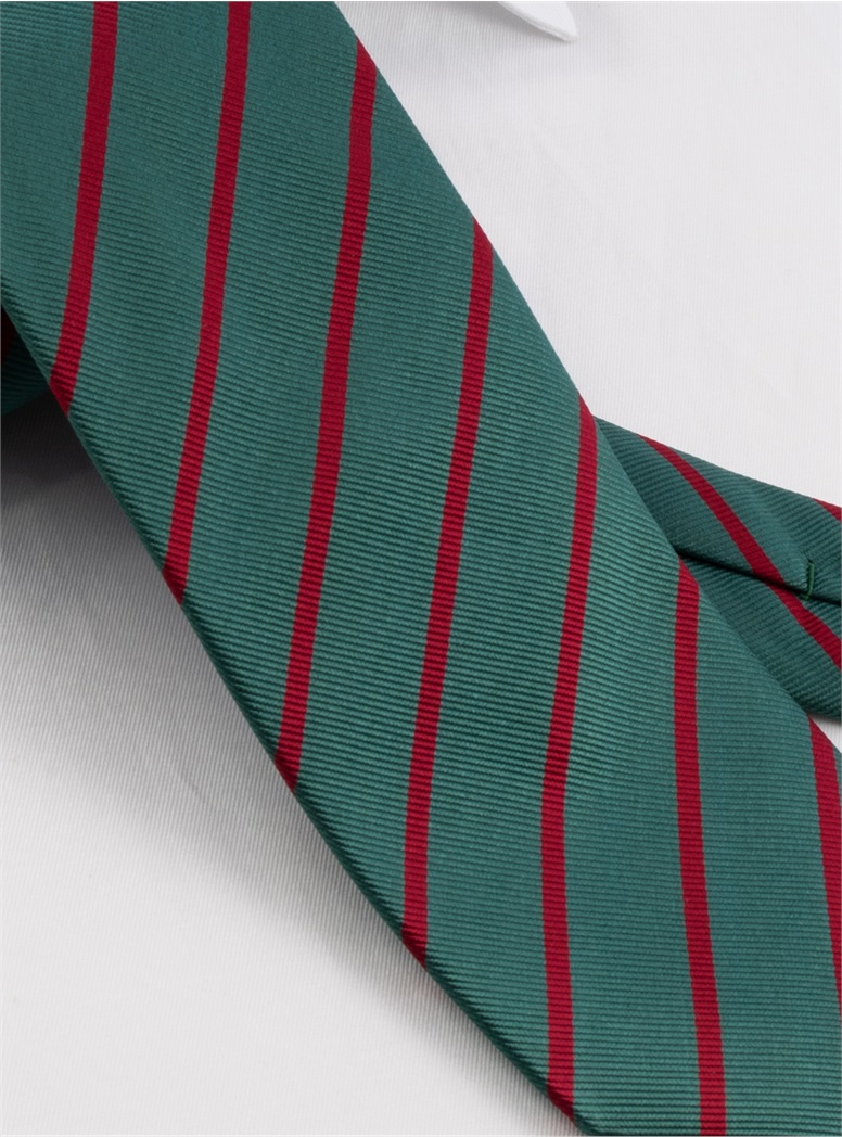 Silk Bar Stripe Tie in Pine