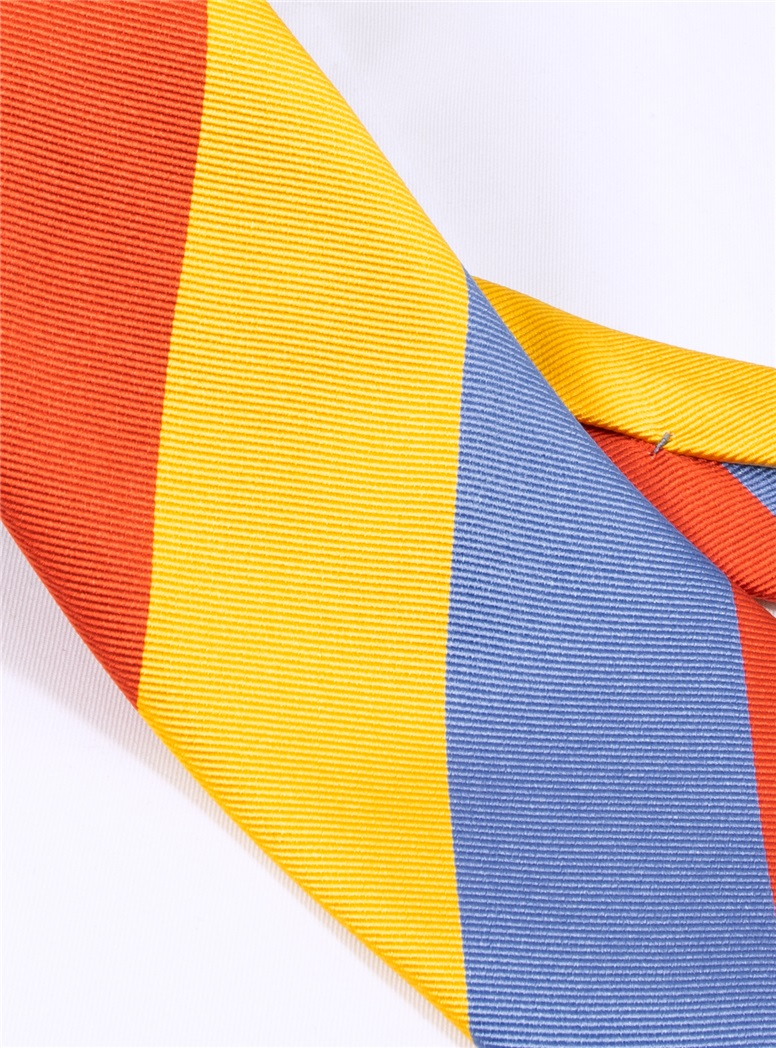 Woven Block Stripe Tie in Sun, Cornflower Blue and Tangerine