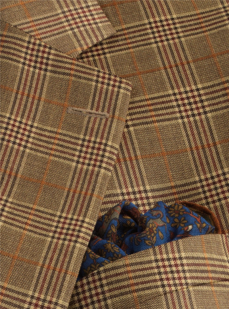 Jacket Wool/Cashmere Chocolate and Sand Glen Plaid