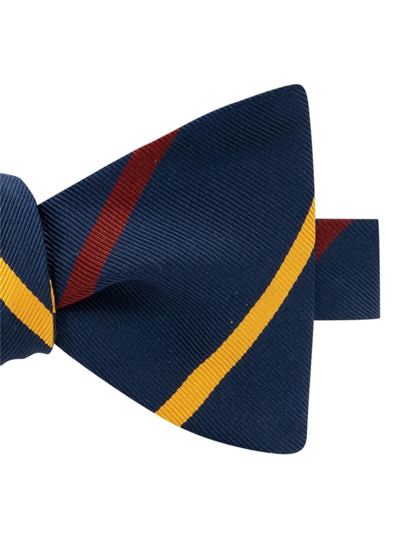 Mogador Double Bar Striped Bow Tie in Navy