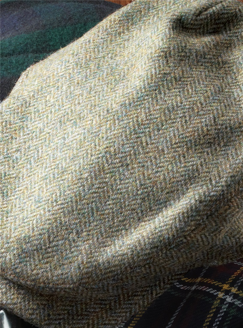 Wool Aberford Cap in Mint and Cream Herringbone