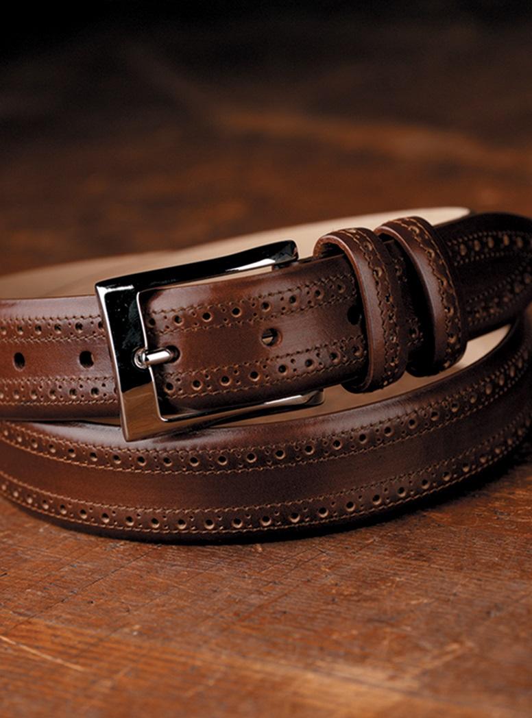 Dark Tan Leather Belt in Brogue Pattern