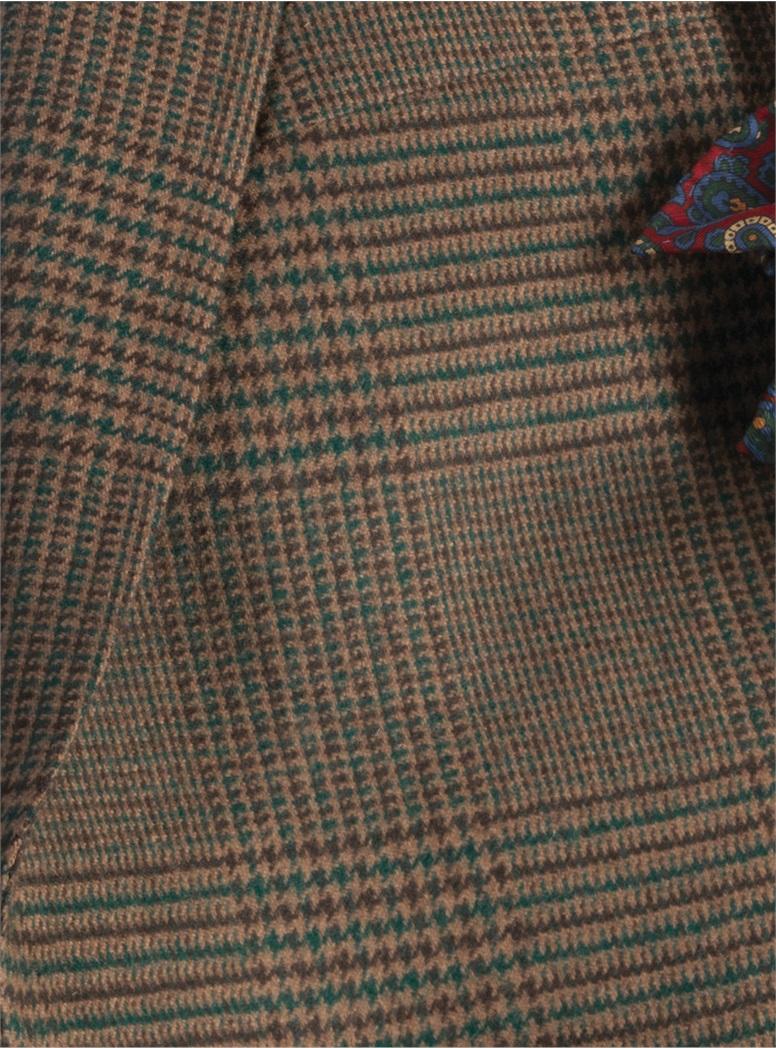 Brown Glen Plaid Sport Coat With Cardinal, Navy, Teal