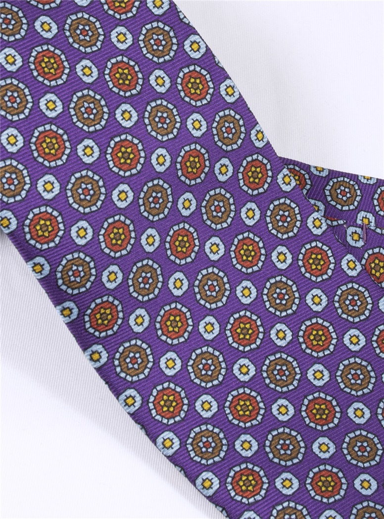 Silk Medallion Motif Printed Tie in Purple