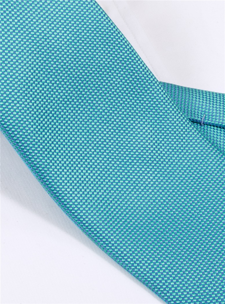 Silk Basketweave Tie in Aqua
