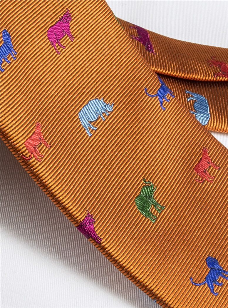 Silk Woven Animal Motif Tie in Copper