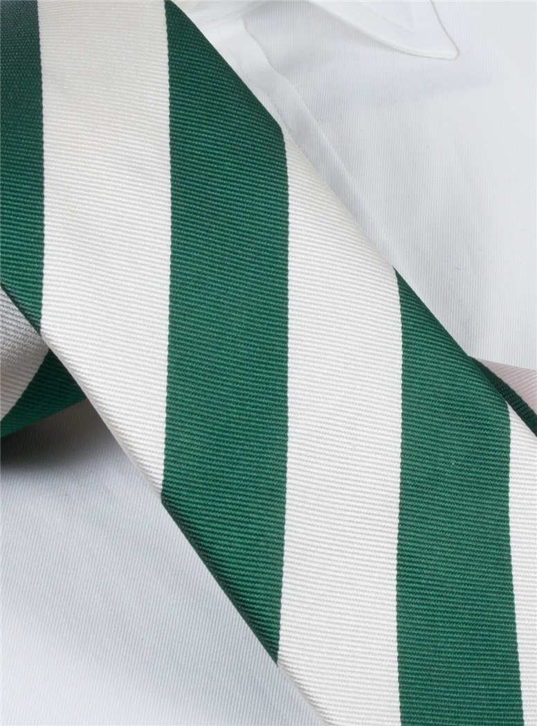 Silk Block Stripe Tie in Leaf