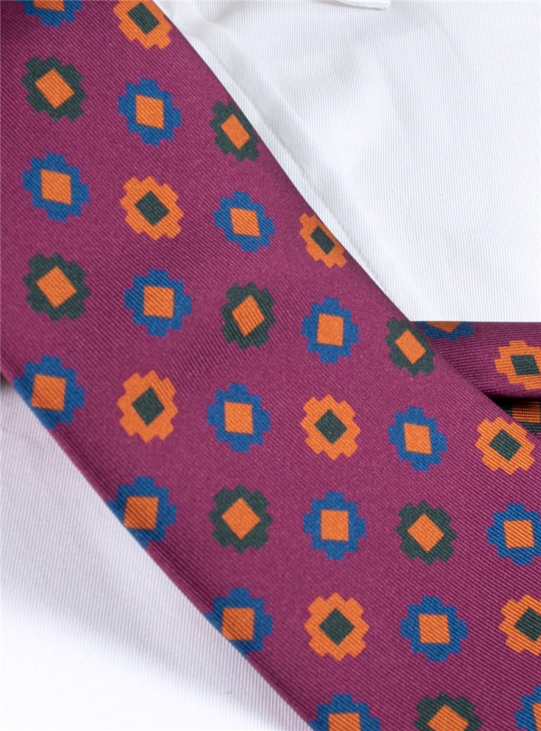 Silk Geometric Motif Tie in Berry