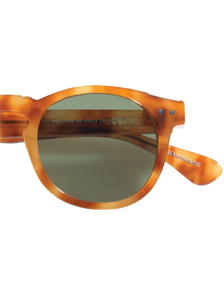 Semi-round Sunglasses in Honey with Green Lenses