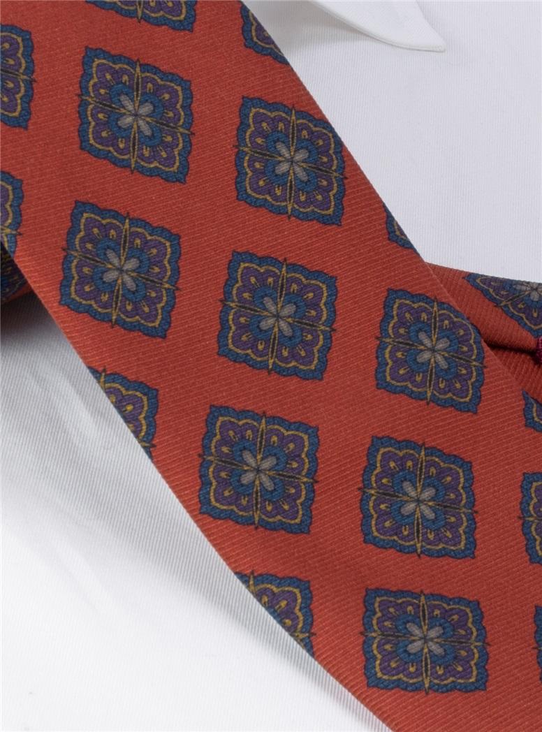 Silk Medallion Printed Tie in Burnt Orange