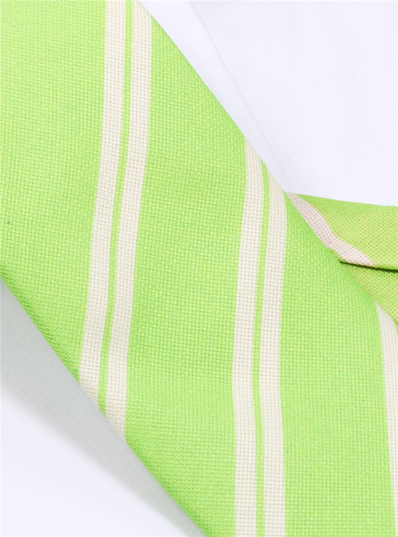 Silk Panama Weave Striped Tie in Lime