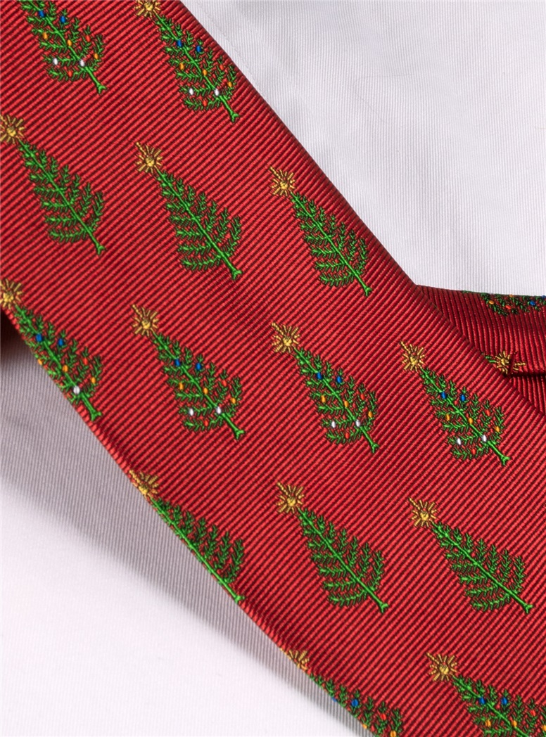 Jacquard Woven Christmas Tree Tie in Red