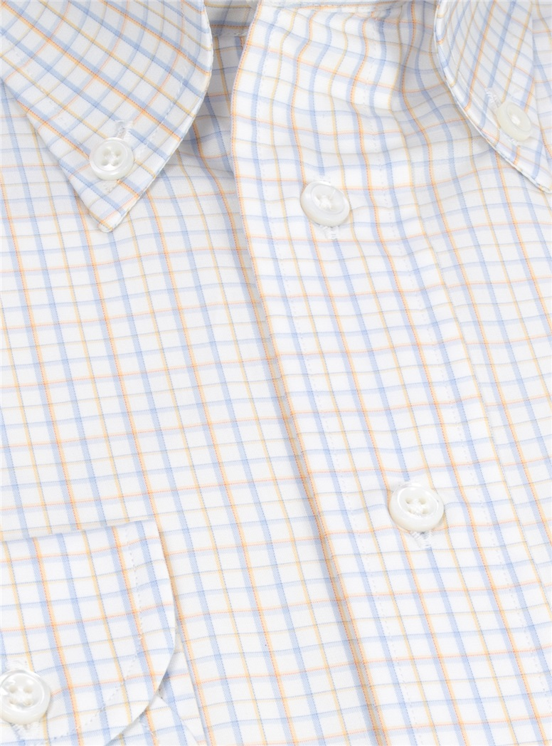 White with Yellow and Blue Plaid Buttondown