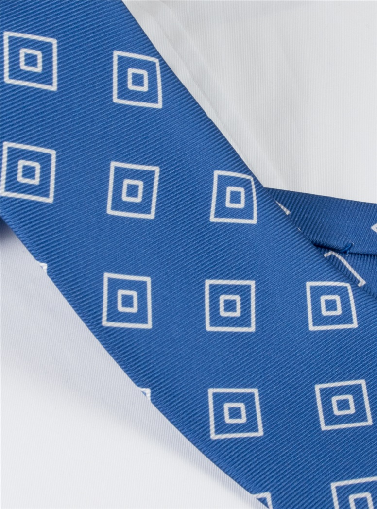 Silk Diamond Printed Tie in Royal Blue