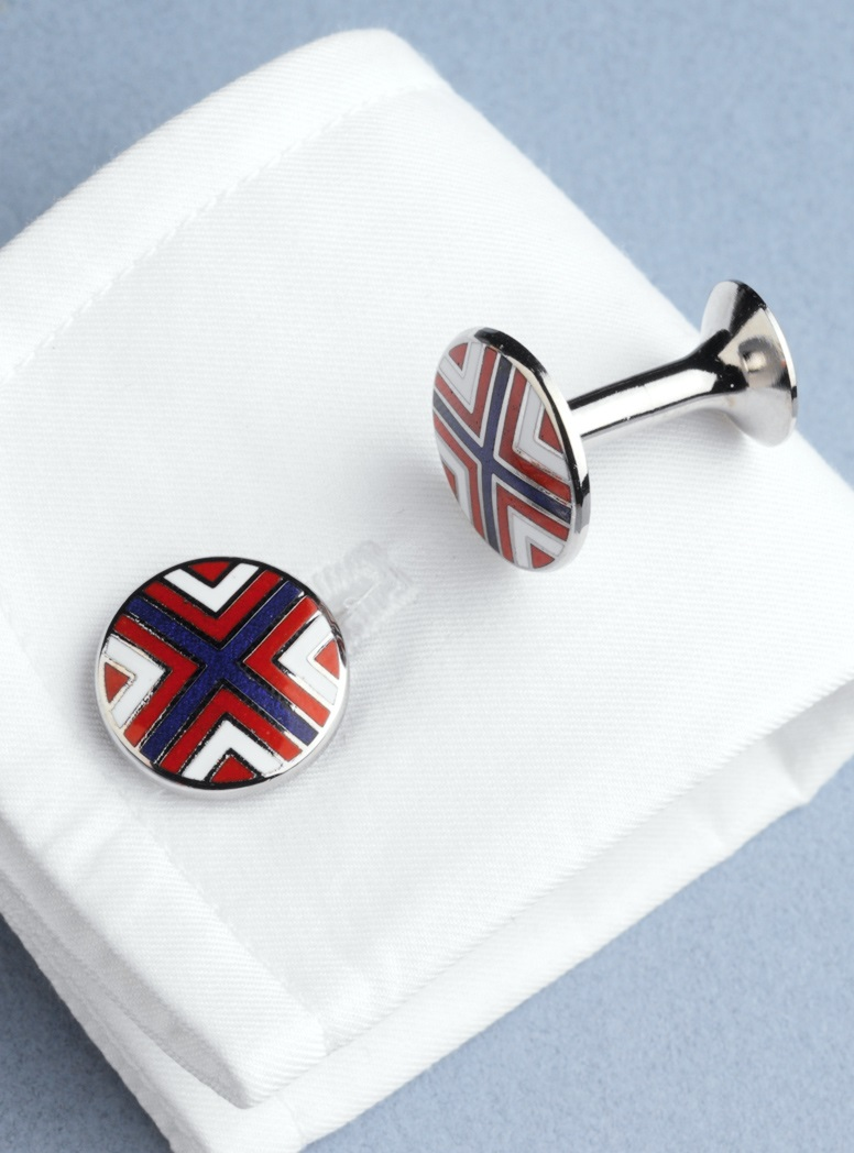Red, Blue, and White Cross Cufflinks
