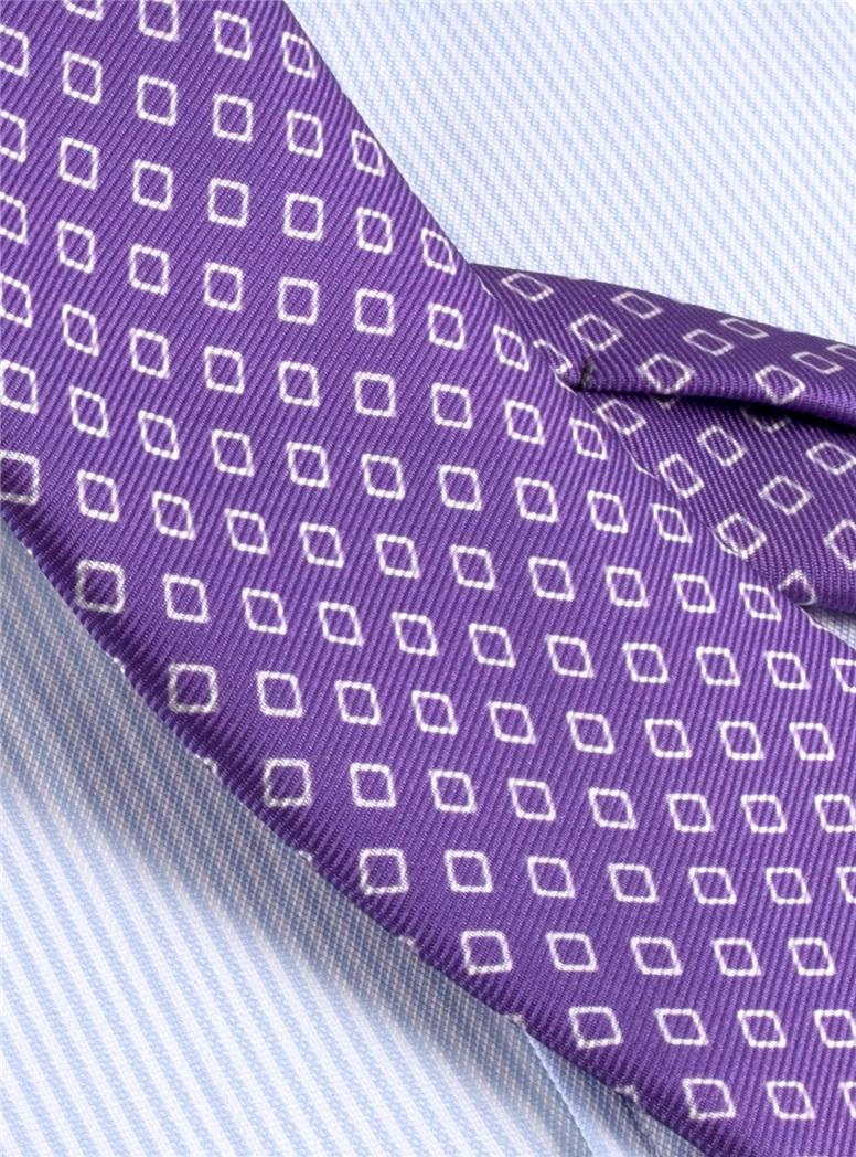 Silk Diamond Motif Tie in Violet