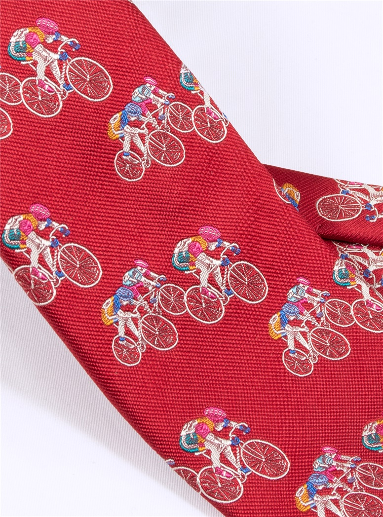 Jacquard Woven Bicyclist Tie in Red