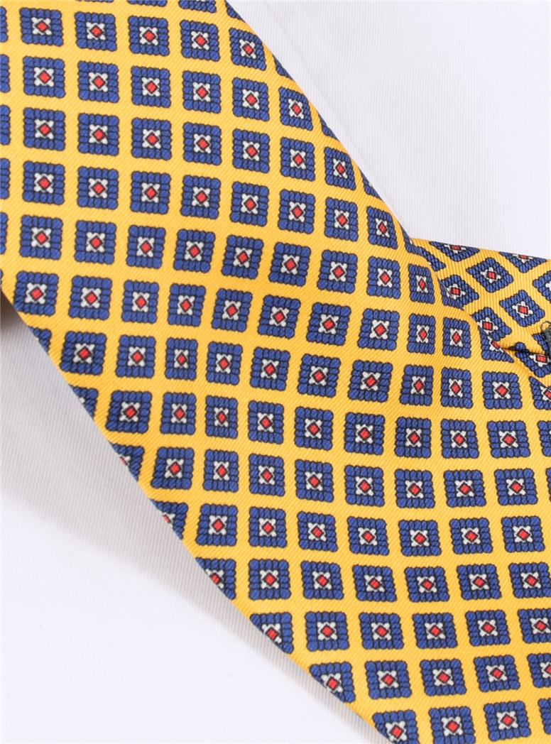 Silk Diamond Printed Tie in Sun