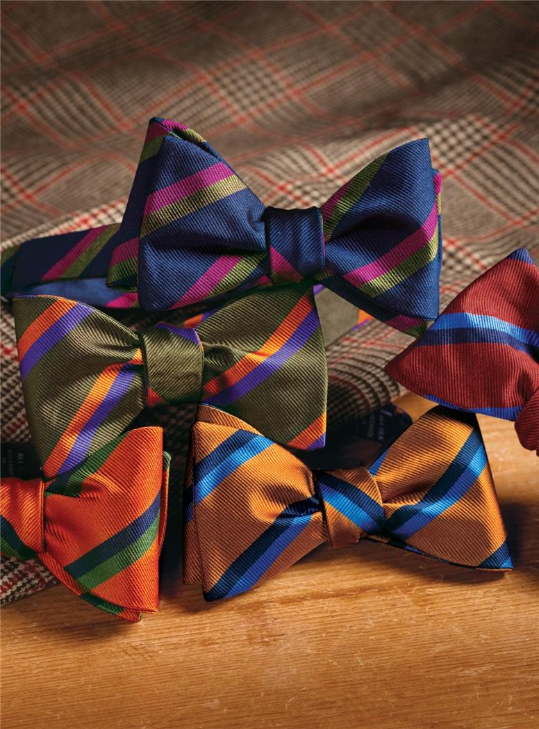 Silk Multi-Color Double Stripe Bow Tie in Tangerine