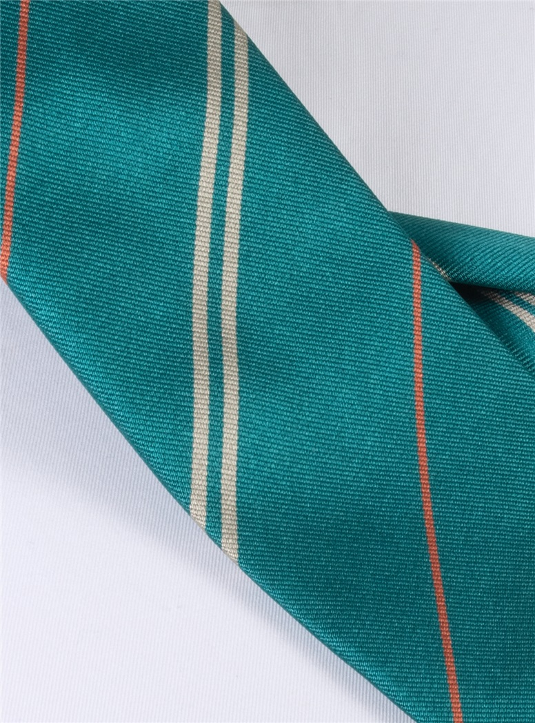 Multi-Stripe Silk Tie in Teal With Tangerine