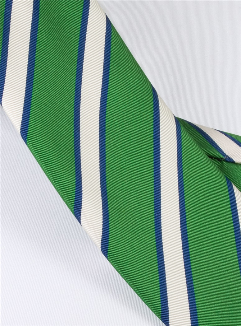 Mogador Silk Stripe Tie in Kelly