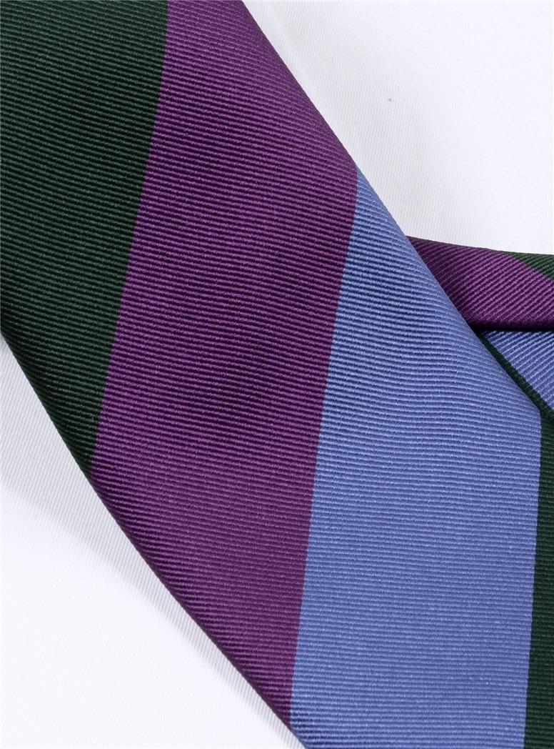Silk Block Striped Tie in Violet, Cornflower and Midnight