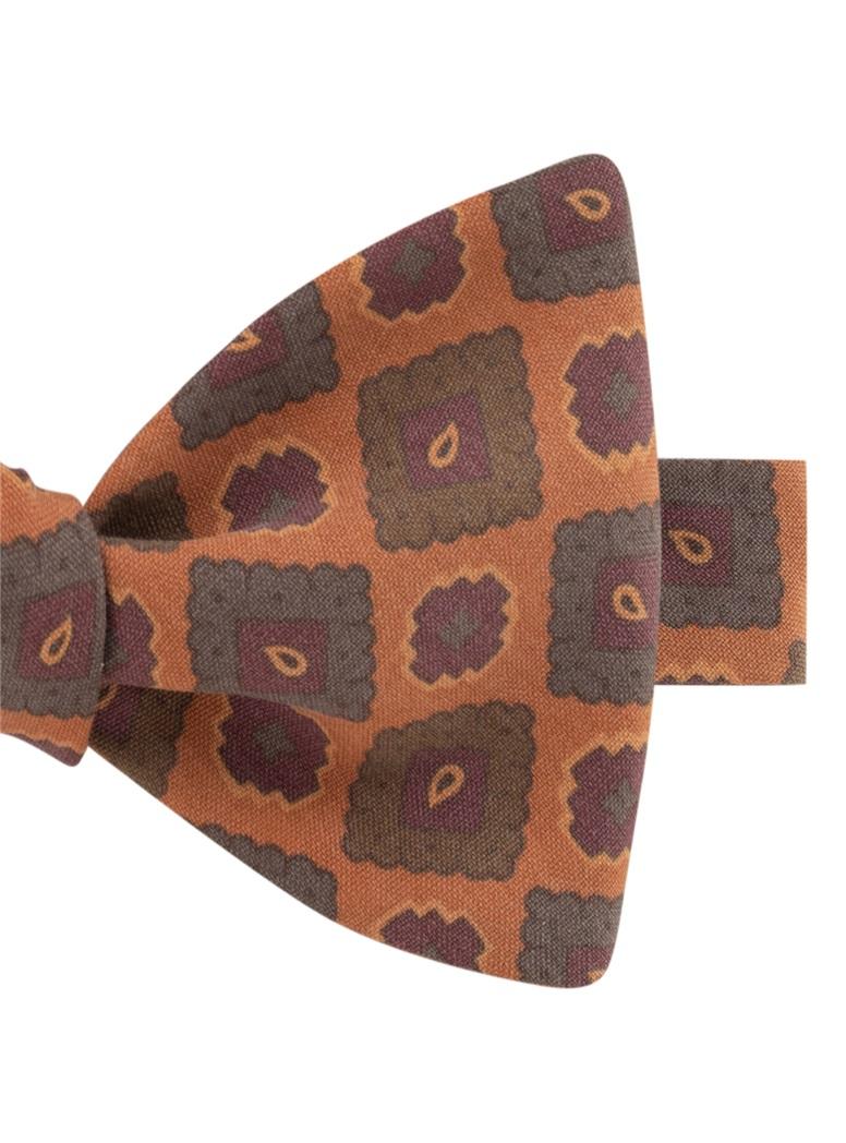 Silk Geometric Motif Bow Tie in Copper