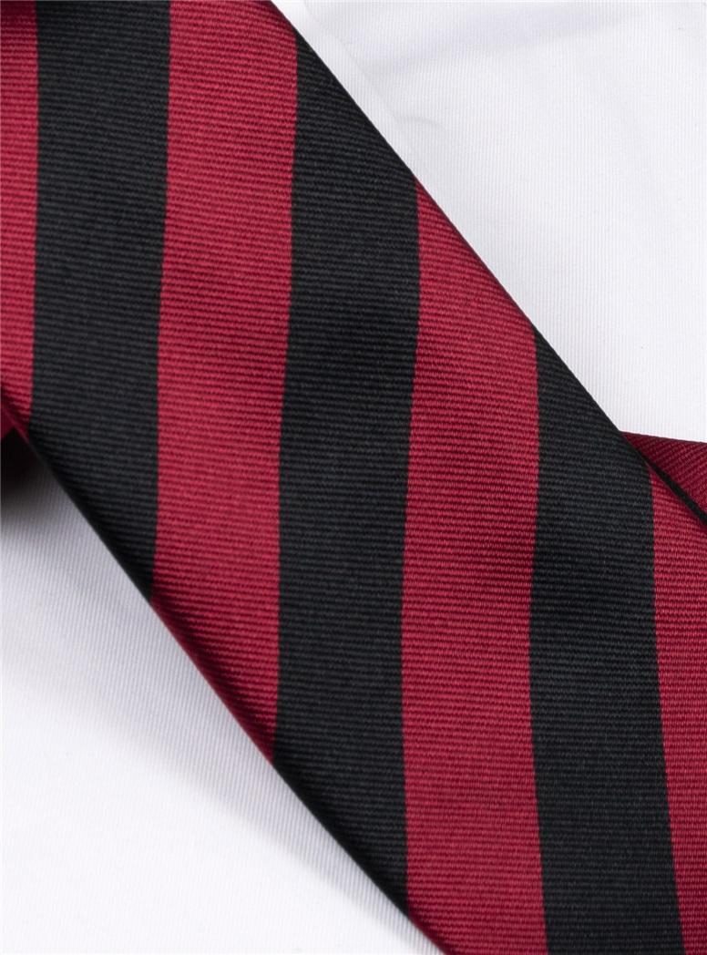 Garnet/Black Block Long Tie