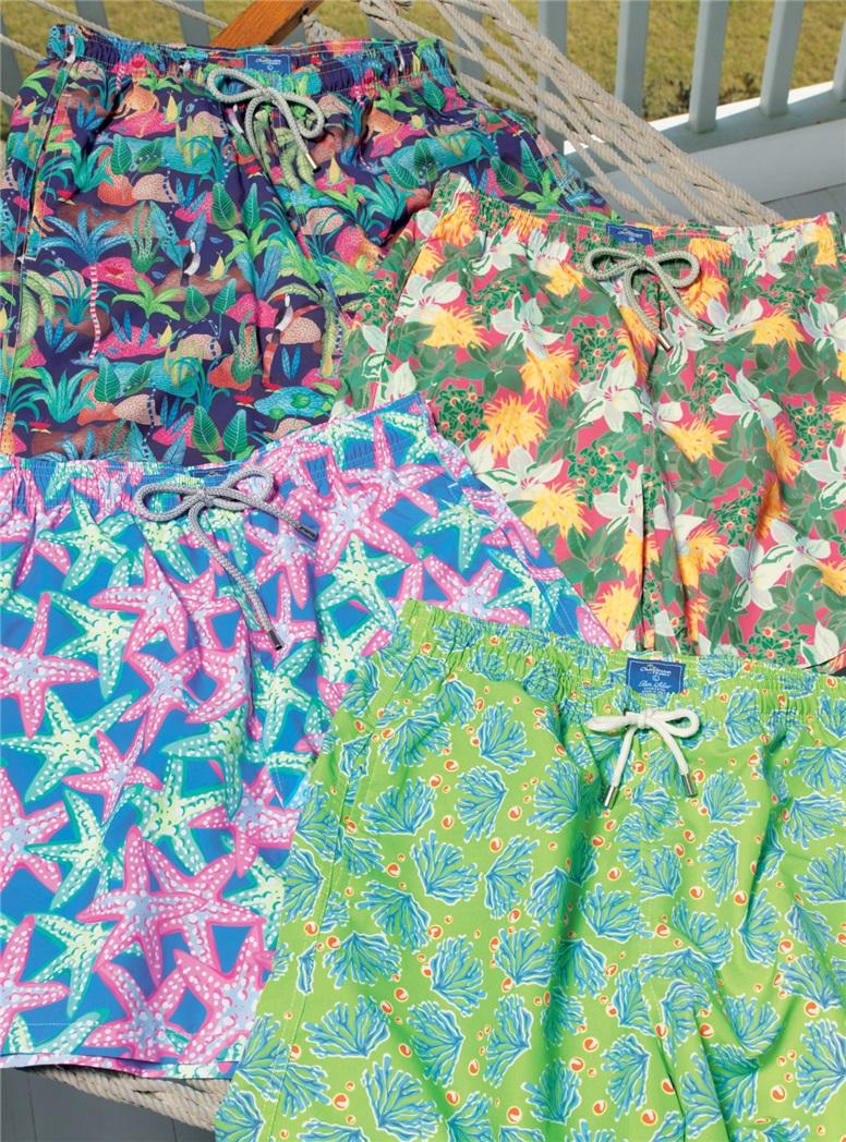 Starfish Print Trunks in Azure