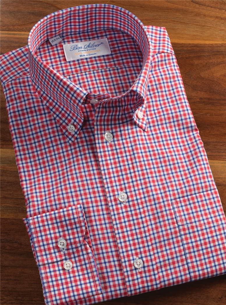 Red, Blue and White Plaid Button Down
